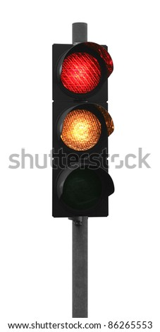 red and yellow traffic light isolated on white - stock photo