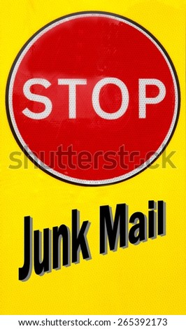 Red and yellow warning sign with a Stop Junk Mail concept - stock photo