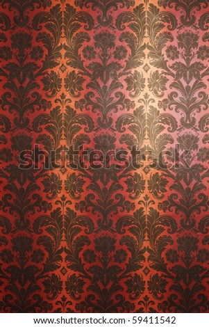 red and yellow with black pattern wallpaper. vertical ornament. Vintage style - stock photo