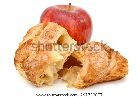 red apple and apple pie on white background  - stock photo