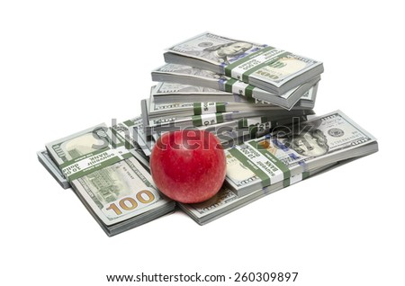 Red apple and dollar notes isolated on white background. Rising cost of health care and healthy eating, inflation concept - stock photo