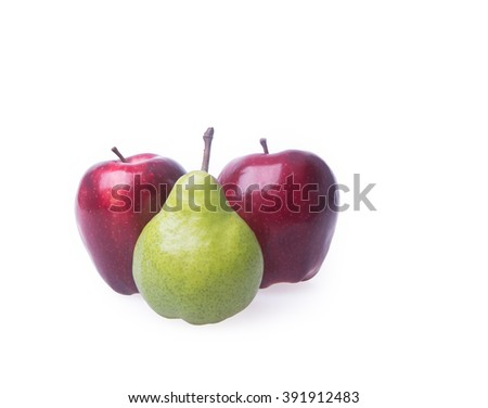 red apple and green pear on a background - stock photo