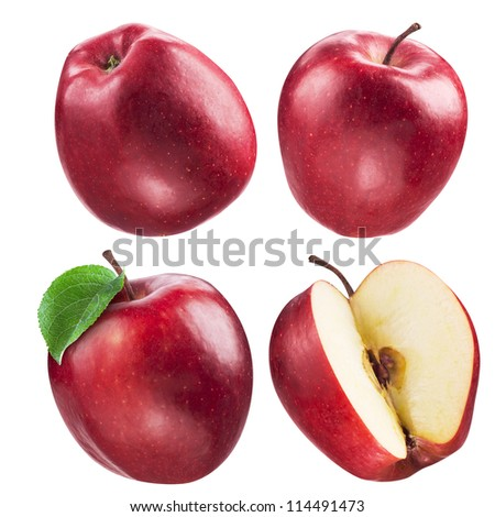 Red apple collection. set of fruits and leaf isolated on white - stock photo