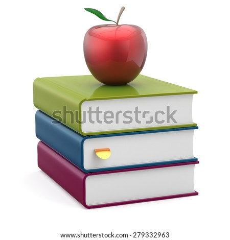 Red apple colorful books stack textbooks studying education reading learning school college knowledge literature idea wisdom icon concept. 3d render isolated on white - stock photo
