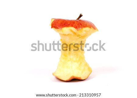 Red apple core on a white background - stock photo