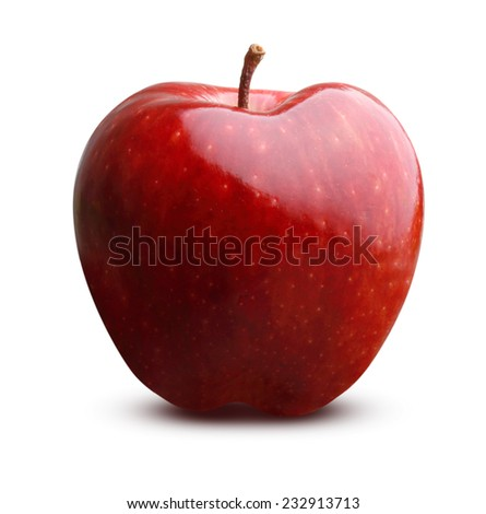 Red apple fruit isolated on white background - stock photo