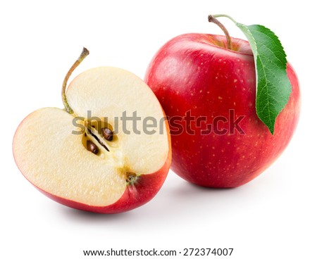 Red apple. Fruit with a half isolated on white. - stock photo