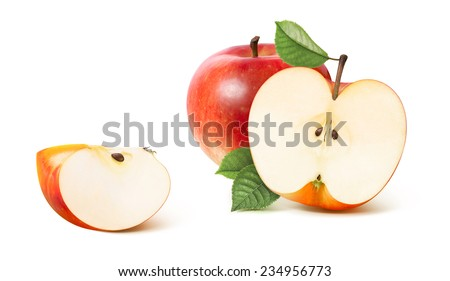Red apple half and distant quarter isolated on white background as package design element - stock photo