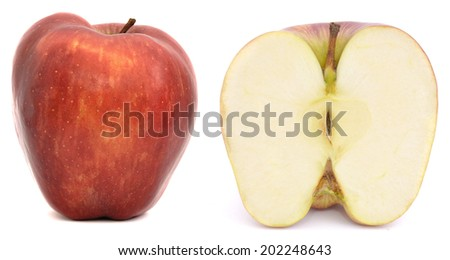 Red apple, half apple, isolated - stock photo
