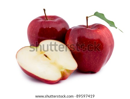 Red apple isolated on white-green background - stock photo