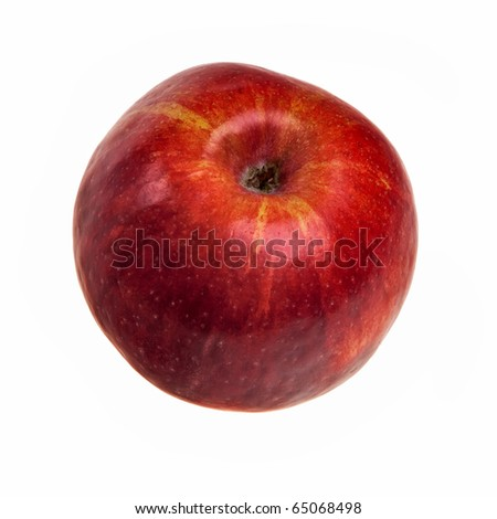 Red apple isolated over white background visible from above. - stock photo