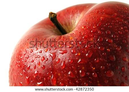 Red apple. Macro - stock photo
