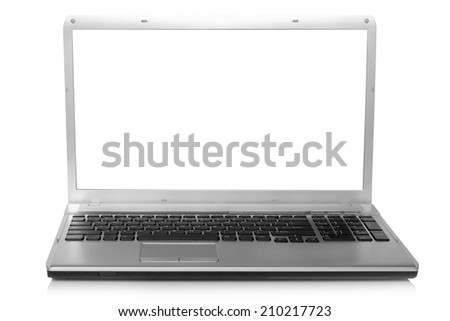 Red apple on notebook screen on a white background - stock photo