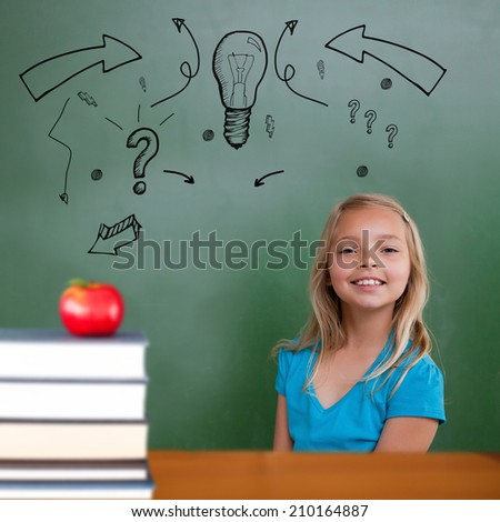 Red apple on pile of books against cute pupil smiling - stock photo
