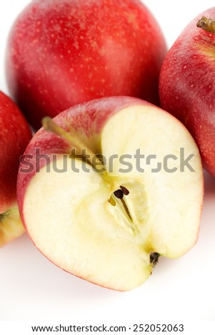 Red apple  slice on a white background - stock photo