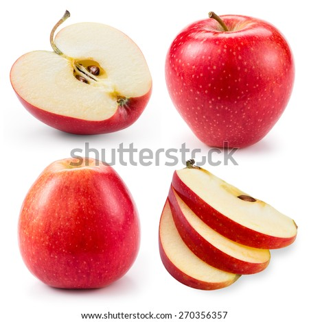 Red apple.Whole, half and slice isolated on white. Collection. - stock photo