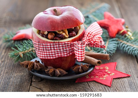 red apple with bow and filling - stock photo