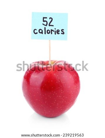 Red apple with calories count label isolated on white - stock photo