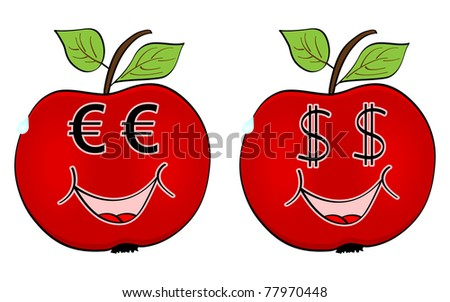 red apple with currency faces - stock photo