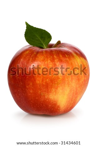 Red apple with green leaf - stock photo