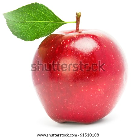 Red apple with green leaf. - stock photo