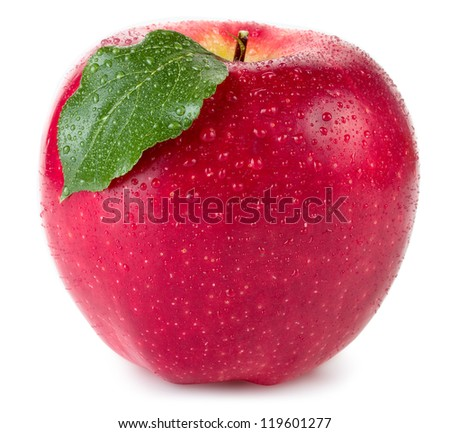 Red apple with green leaf and drops of water isolated on white background - stock photo