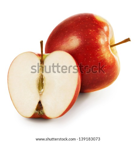 Red apple with half isolated on white background - stock photo