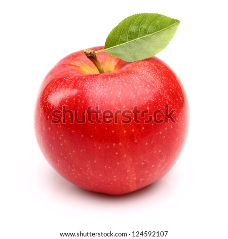 Red apple with leaf - stock photo