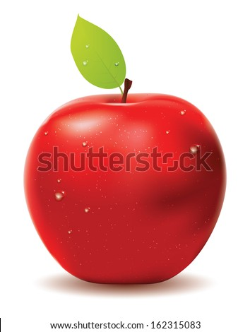 Red apple with leaf and water drops on white background. - stock photo