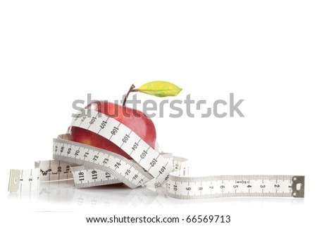 Red apple with tape on white background (health and diet concept) - stock photo