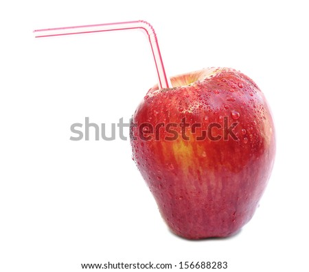 Red apple with water drops and a straw isolated on white background - stock photo