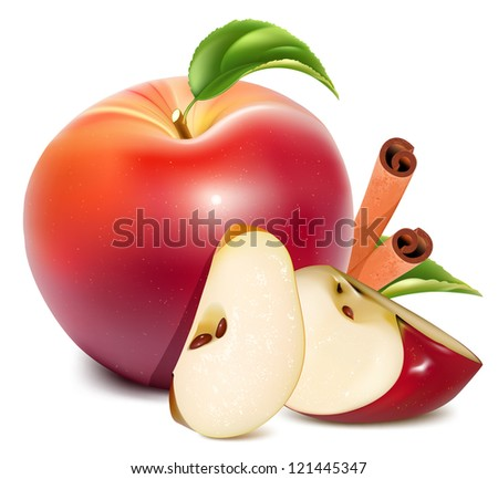 Red apples and apples slices with green leaves and cinnamon. Rasterized version of vector illustration  ID: 114468493 - stock photo