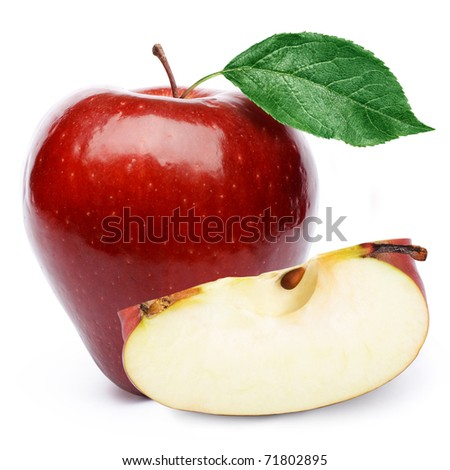 Red apples and half of apple Isolated on a white background. - stock photo