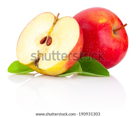 Red apples and half with green leaves isolated on a white background - stock photo