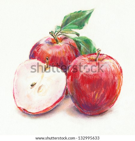 Red apples and leaves. Scanned hand drawn image. Pastel chalks on white paper. - stock photo