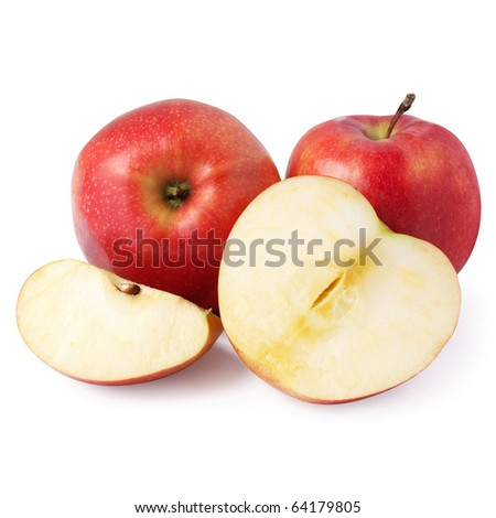 red apples isolated on the white background + Clipping Path - stock photo