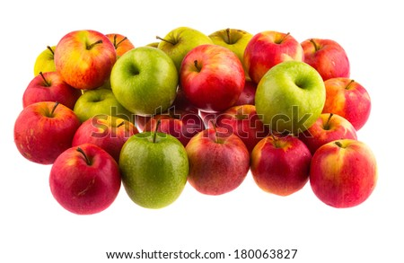 Red apples isolated on white background. - stock photo