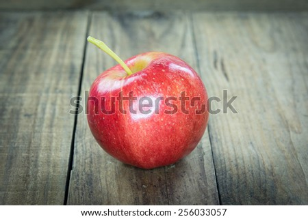 Red apples on wooden. - stock photo