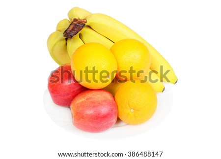 Red apples, oranges and bananas on white plate isolated on white background - stock photo