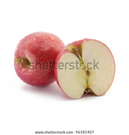 Red apples with water drops on white background - stock photo