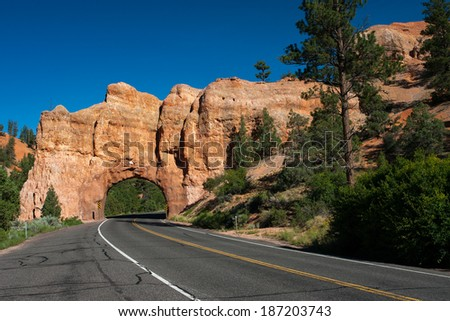 Red Arch road tunnel on the way to Bryce Canyon National Park,Ut - stock photo