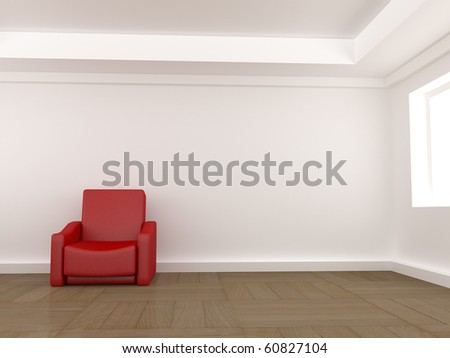 Red armchair - stock photo