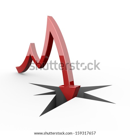 red arrow collapse - stock photo