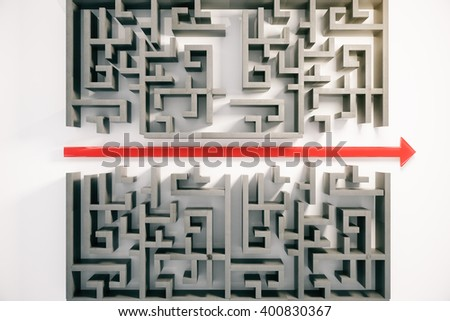 Red arrow cutting through a complicated maze. 3D Rendering - stock photo