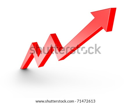 Red Arrow Growth Chart isolated on white - stock photo