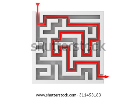 Red Arrow Moves Through the Labyrinth on a white background - stock photo