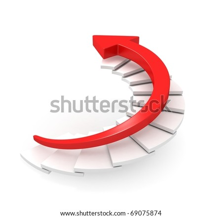 Red Arrow Moving Upstairs - stock photo