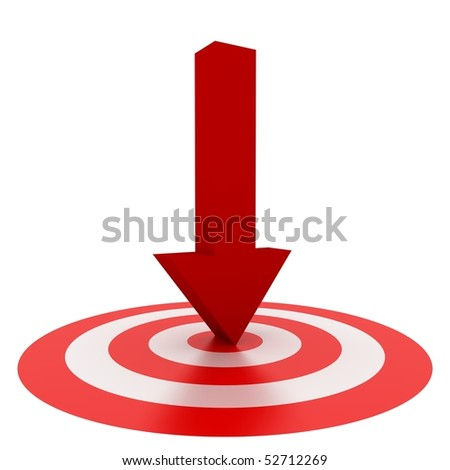 Red arrow on Center isolated on white background - stock photo