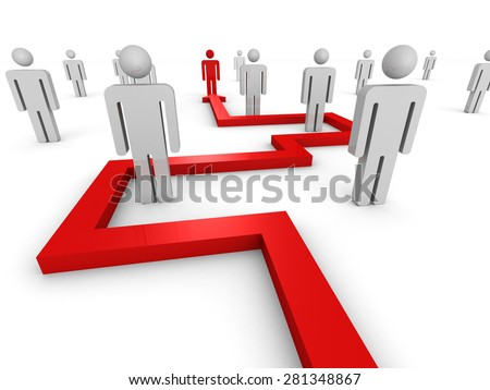 Red Arrow Pointing To Different People Icon. 3d Render Illustration - stock photo
