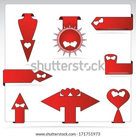 Red arrow shaped label set with hearts for Valentines day, raster version. Creative abstract love concept label collection design. - stock photo